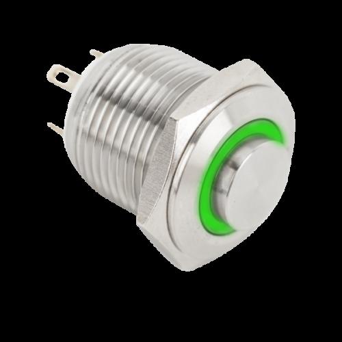 Világitó nyomógomb, zold LED, IP65 PB-16-NO-gn