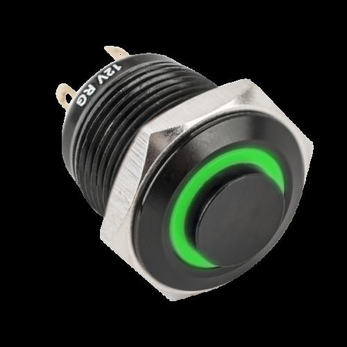 Nyomógomb fekete (piros-zöld színű LED-el) PB-16-NO-rdgn-bk