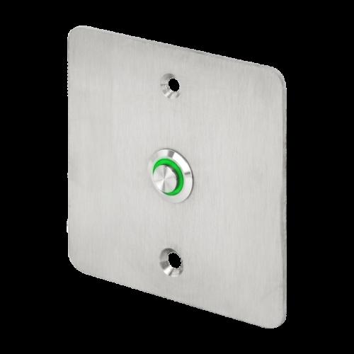 LED-es mikrokapcsolós nyomógomb pajzzsal - NO - zöld - cseppálló (IP65) PBK-C-19-NO(LED)-gn
