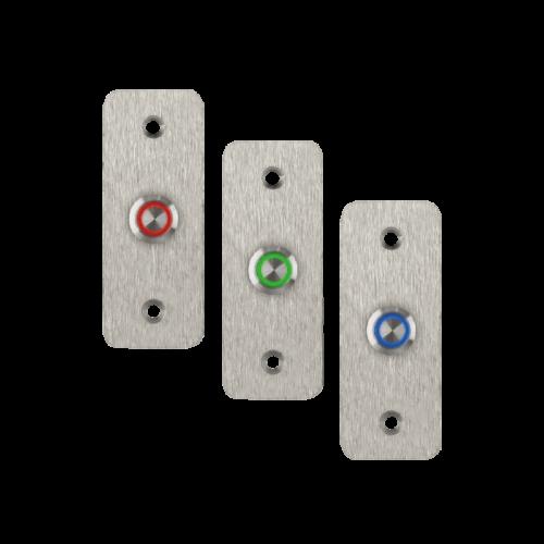 LED-es mikrokapcsolós nyomógomb pajzzsal - NO - kék - cseppálló (IP65) PBK-B-16-NO(LED)-bl