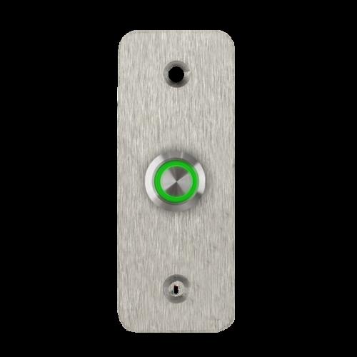 LED-es mikrokapcsolós nyomógomb pajzzsal - NO - zöld - cseppálló (IP65) PBK-B-19-NO(LED)-gn