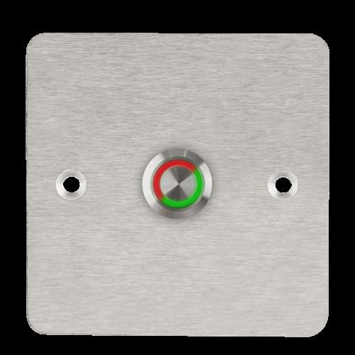 LED-es mikrokapcsolós nyomógomb pajzzsal - NONC - piros-zöld - cseppálló (IP65) PBK-C-19-NONC(LED)-rdgn
