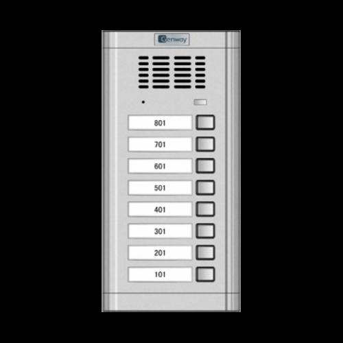 Vízálló kültéri, 8 lakásos kaputelefon hívóegység G-WL-02NE 1x8